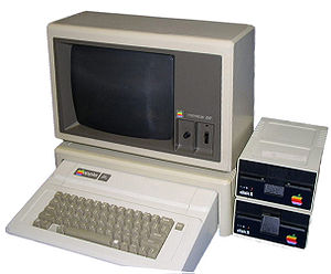 A snap-shot of a typical Apple IIe computer se...