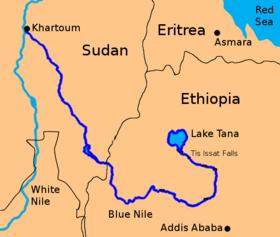 Mapa del Nilo Azul, en el que aparece el lago