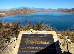 English: Diamond Valley Lake from the viewpoint.