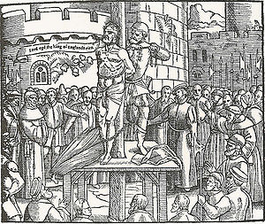 Preparations to burn the body of William Tynda...