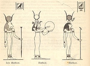 English: Line drawing of Egyptian gods Isis Ha...