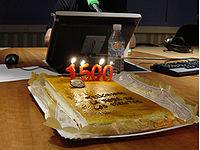 Tarta de felicitación de los 1500 programas realizados.