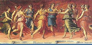 A representation from the 1500s of the Muses d...