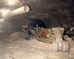 English: Mining in Rainier Mesa is an around-t...