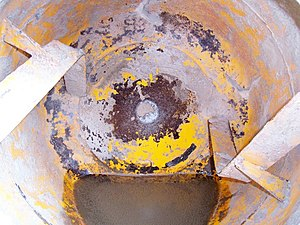 The inside view of a concrete mixer.