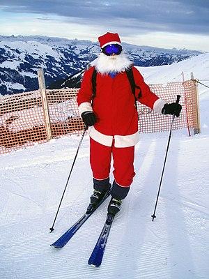 Santa Clause on skies in Adelboden, Switzerland