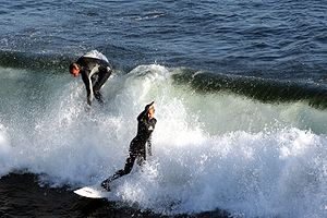 Surfers in Santa Cruz, California