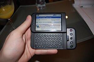 English: T-Mobile's G1 phone (HTC Dream), usin...