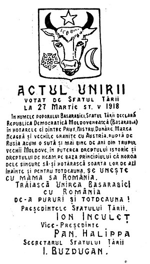 Declaration of unification of Bessarabia and R...