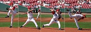 Anticipation: A baseball player making a pitch...