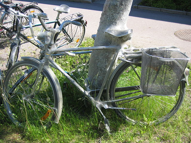 ermine moth larva on a Swedish Army Bike