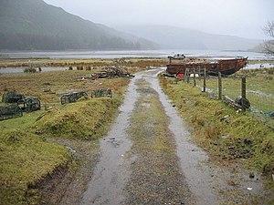 English: Fishing Equipment at the head of Loch...