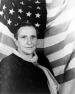 Portrait of Gertrude Stein, with American flag...