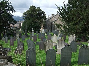 English: Graveyard to East of Glan Conwy Churc...