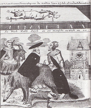 Antisemitic 18th-century engraving from Frankf...
