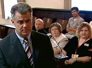 Attorney Mike Faulk asking questions during ju...