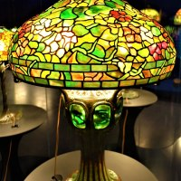Tiffany Lamp - Nasturtium Shade with Mosaic Turtleback Tile Base