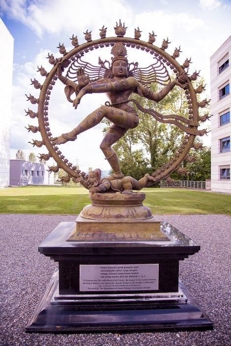 Shiva's statue at CERN engaging in the Nataraja dance