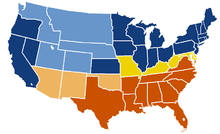 Map of U.S. showing three new states, with two kinds of Confederate territorial control.