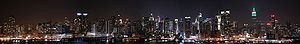 Night view of Upper and Lower Manhattan from N...