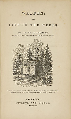 Original title page of Walden featuring a pict...