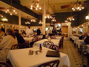 English: The main dining room of Galatoire's, ...