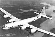 A Superfortress returns from a training mission, to its base at this Army Air Field Training Command B-29 Transition School