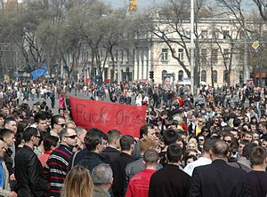 Protest in Chisinau after the 2009 parliamenta...