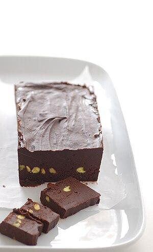 Chocolate and pistachio fudge.