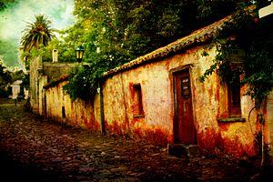 Old town in Colonia del Sacramento, Uruguay. T...