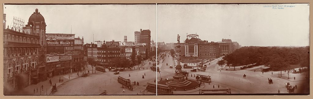 1907 Photograph of Columbus Circle, the statue of Christopher Columbus and Central Park in New York City - wikipedia