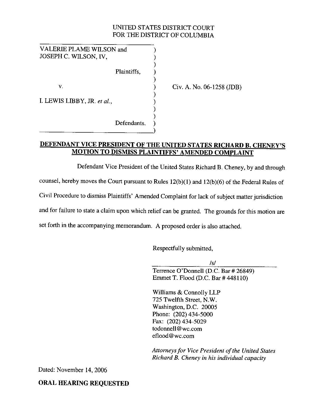File Defendant Cheney S Motion To Dismiss