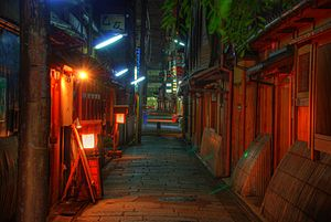 Photo of an alley in Gion at night using HDR