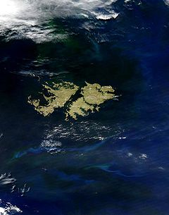 Ilhas Malvinas vistas do espaço