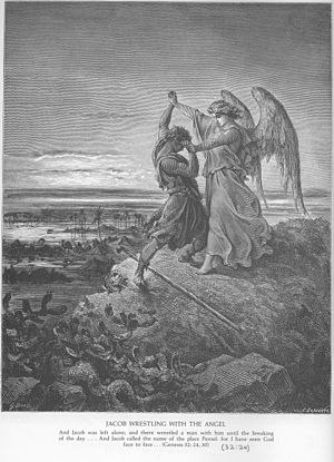 English: The wrestle of Jacob, in an original ...