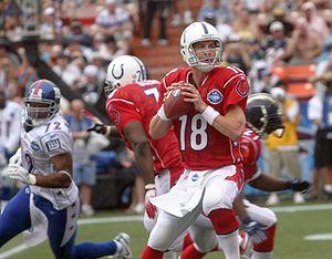 AFC quarterback Peyton Manning, of the Indiana...
