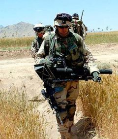 Soldier in Afghanistan with M224