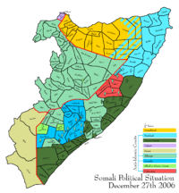 Map depicting the political situation in Somalia on December 27, 2006