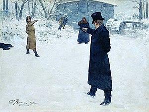 Duelo de Oneguin y Lensky. Ilustración de Iliá Repin (1899).