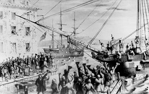 Boston Tea Party: Colonists dumped the British...