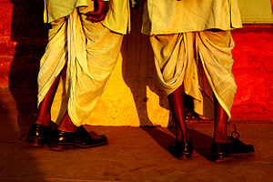 Two men wearing dhoti. Delhi, India. Photograp...