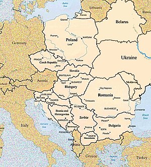 English: Map of Eastern European Countries