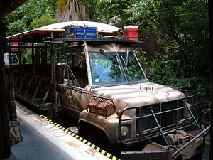 A safari vehicle at Kilimanjaro Safaris in the...