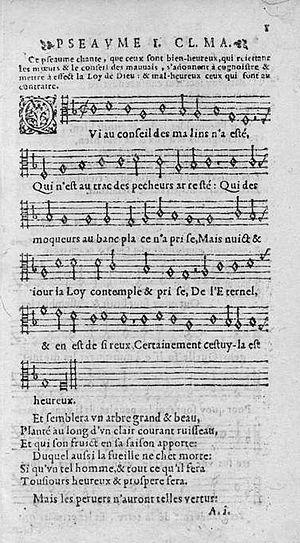 English: Psaume 1 extrait de l'édition des Psa...