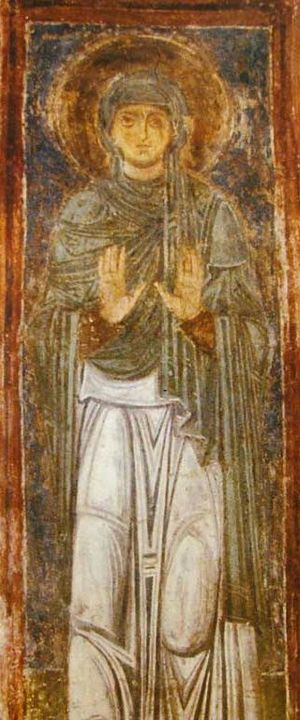 English: St. Macrina the Younger (fresco in Sa...