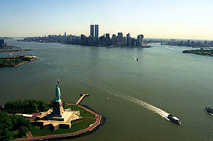 View of Manhattan from a helicopter, flying ov...