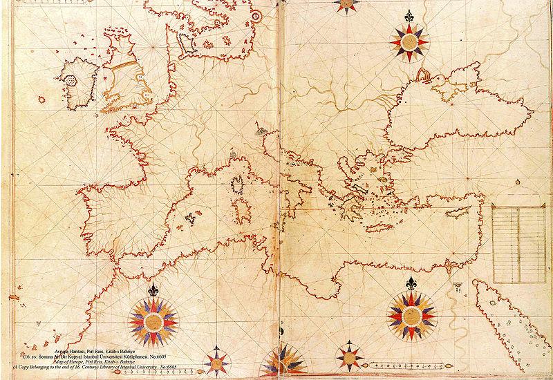 800px Piri Reis map of Europe and the Mediterranean Sea - Hy-Brasil, la otra Atlántida