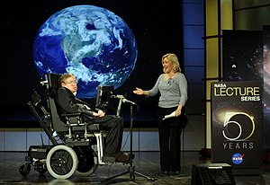 English: Stephen Hawking being presented by hi...