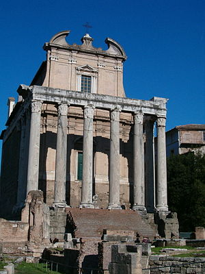 The Temple of Antoninus and Faustina is locate...