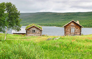 Old log cabins by Mantojärvi-lake near Utsjoki...